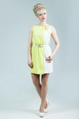 летнее лимонное платье с поясом без рукавов короткое цена