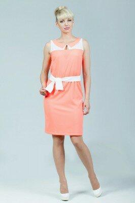 коралловое платье с белыми вставками до колен цена
