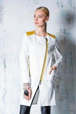 белый хлопковый пиджак с косым запахом на молнии и жёлтыми вставками купить