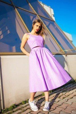 розовое платье с открытым животом и пышной юбкой в магазине
