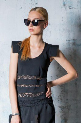 экстравагантная чёрная блуза с накладными плечами и гипюровыми вставками купить