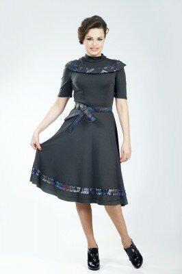 платье чёрное с поясом и горлом петро сорока купить