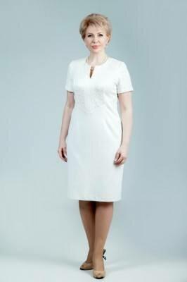 белое строгое платье для офиса больших размеров с короткими рукавами цена