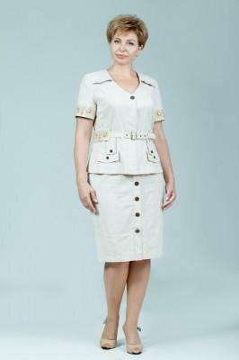 юбочный костюм бежевого цвета с декоративными пуговицами петро сорока цена