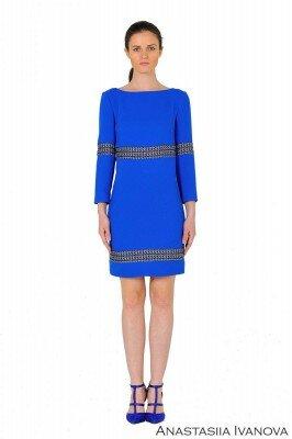 ярко синее платье со вставками цена