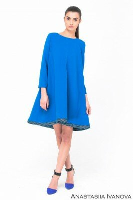 ярко синее расклешёное от груди платье цена