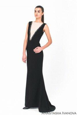 шикарное длинное платье с имитацией декольте цена