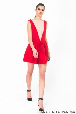 короткое красное платье с имитацией декольте цена