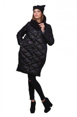 пальто стёганое чёрное купить
