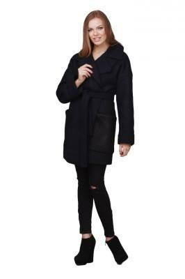 пальто весеннее чёрное с поясом цена