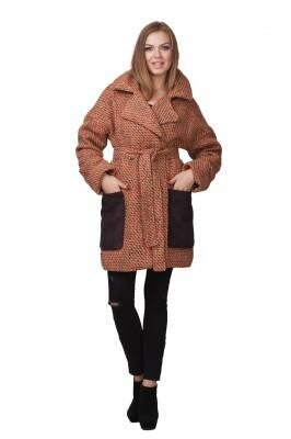 пальто драповое бежевое с карманами купить