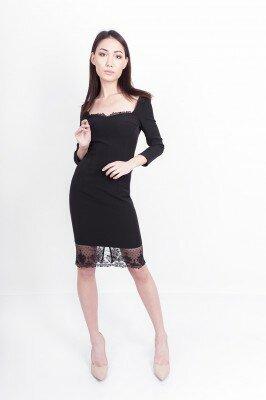 чёрное платье с квадратным вырезом цена