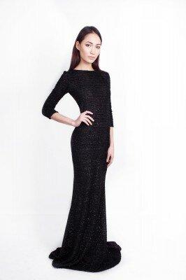 чёрное платье в пол со шлейфом цена