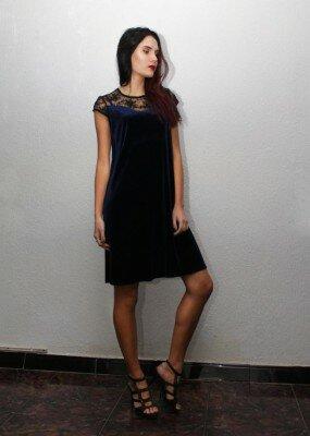 чёрное вельветовое платье до колен купить