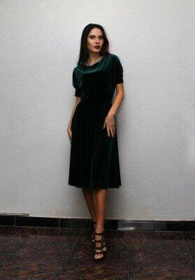 Элегантное зелёное платье с коротким рукавом цена