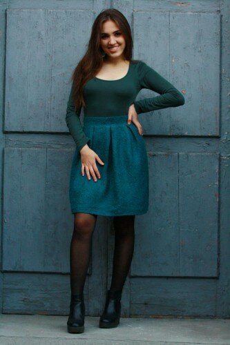 зелёная юбка в складку цена