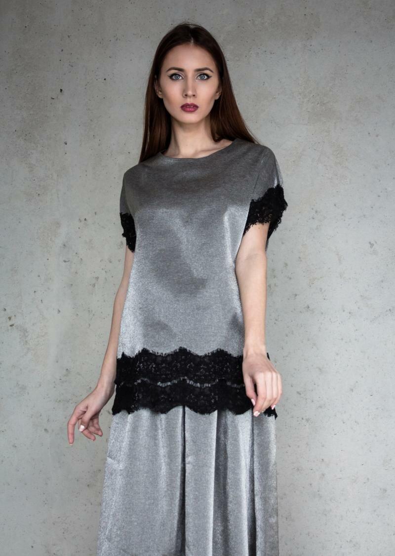 Блузка с короткими рукавами и кружевом от Natalia Kravchenko цена