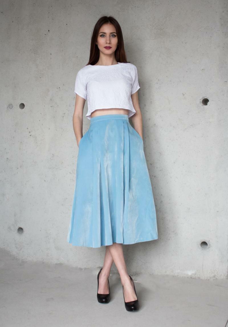 Голубая юбка миди от Natalia Kravchenko купить