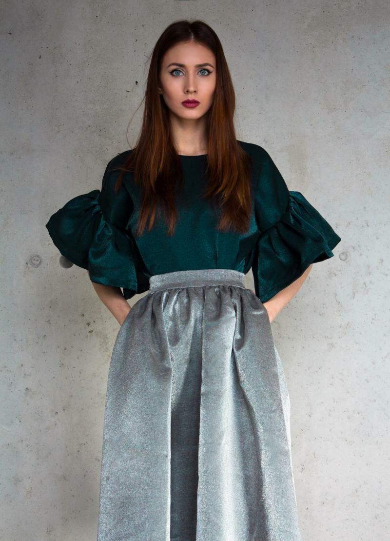 Зеленая блузка с воланами от Natalia Kravchenko в интернет магазине