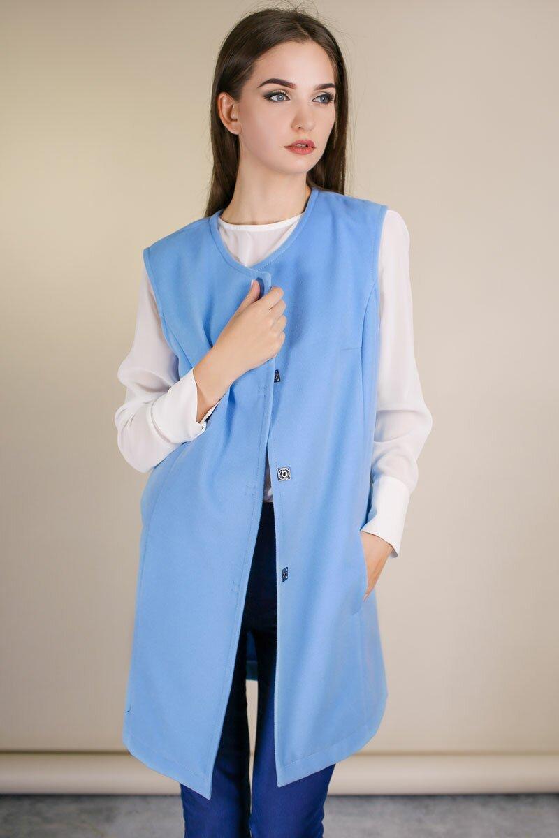 женское пальто без рукавов