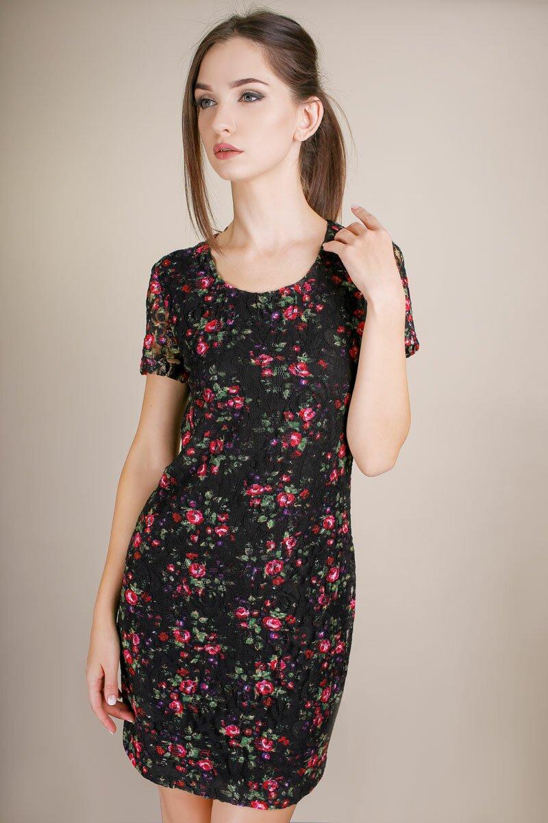 купить платье с коротким рукавом гипюр