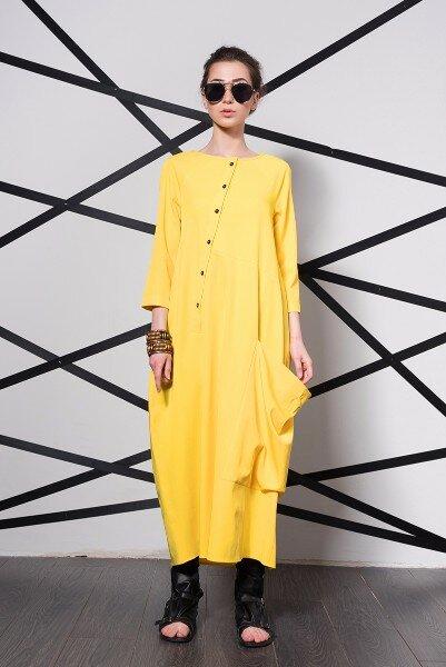 Желтое дизайнерское платье