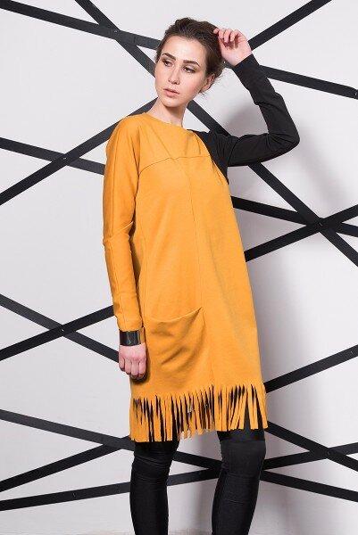 Платье горчичного цвета низ бахрома купить